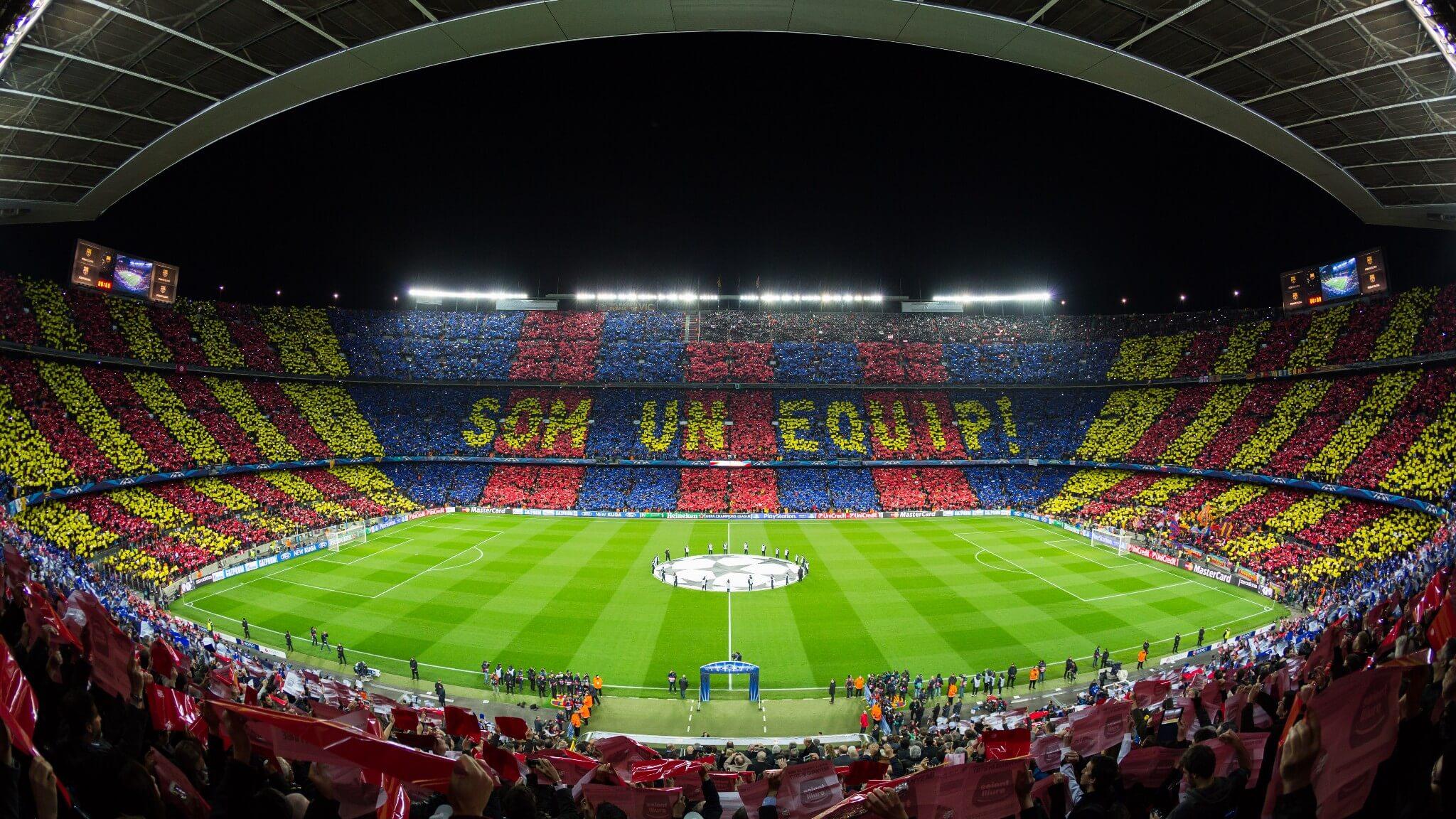 El Camp Nou en un partido de la Uefa Champions League